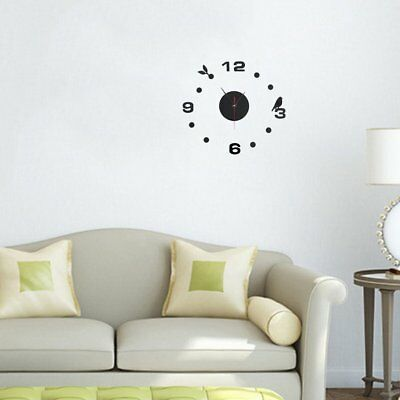 DIY Large Wall Clock Home Office Room Decor 3D Mirror Surface Sticker UKE