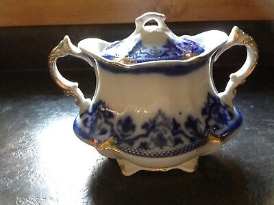 RARE Antique Flow Blue Covered Sugar Bowl Celtic Pattern by WH Grindley England