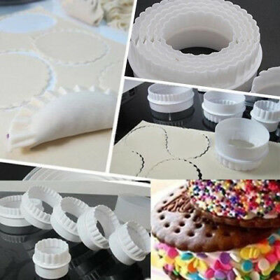 6Pcs/set Round Plastic Scalloped Fluted Cookie Pastry Biscuit Cutter Decor Pour