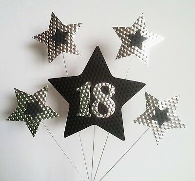 18th BIRTHDAY CAKE TOPPER STARS Silver And Black
