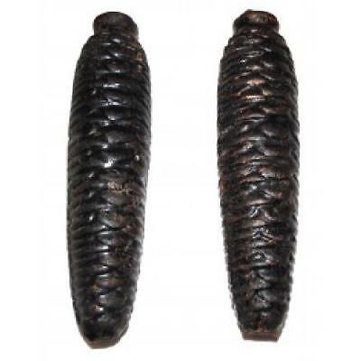 """Pair of Vintage Black Forest Cuckoo Clock Weights Cast Iron Pinecone Shaped 5"""" /"""