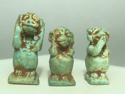 Ancient Egyptian god Thoth / Baboon - Amulets (Faience) - Lot of 3