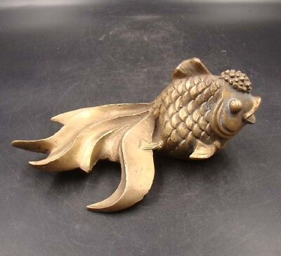 Collectible Handmade Carving Statue Copper Brass Goldfish Deco Art