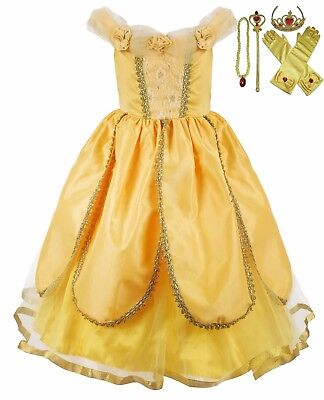 Girls Belle Cosplay Princess Dress Costumes Yellow Ball Gown Party Dress Zg8 23 99 Picclick