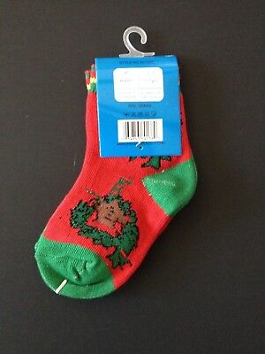 Red Eros Children's Holiday Christmas socks - Size 1-3 fits 0-1 Yrs. - New