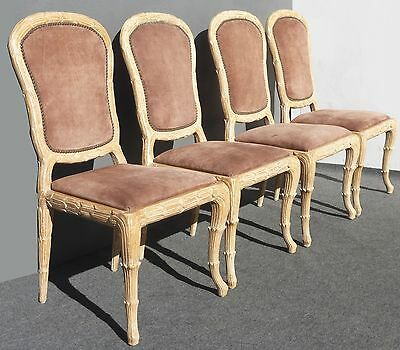 Four Vintage DESIGNER Dining Room CHAIRS 1975 Ornate Frame Suede French Louis