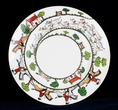 "HUNTING SCENE Crown Staffordshire Porcelain China Salad Plate Dish 9"" England"