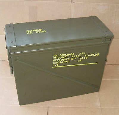 "Large 20 MM Ammo Can-Hunting -Camping-Metal Tool Box "" Free Shipping """
