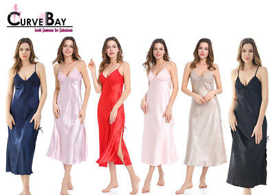 Women Sexy Satin Long Nightgown High Slit Robe Lace Slip Lingerie Dress Camisole