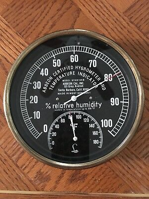 Vintage Brass Abbeon Lufft Certified Hygrometer And Temperature Indicator W Germ