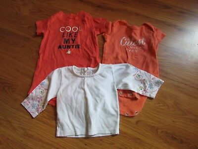 Lot of 3 Baby Girl SIZE 6 MONTHS 2 AUNTIE SYTLE SHORT SLEEVE BODYSUITS 1 SHIRT K