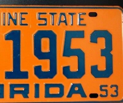 1953 Fl License Plate Mint Perfect Plate- Hendry County