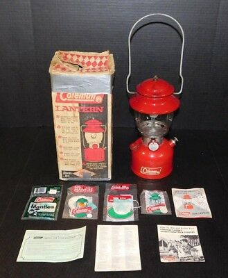 Vintage 1966 Coleman 200A Red Camping Gas Lantern Single Mantle Lamp Pyrex Globe
