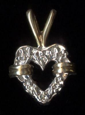 New 10K 1.03 Gram 14mm Solid Yellow Gold Round Natural Diamond Heart Pendant hY