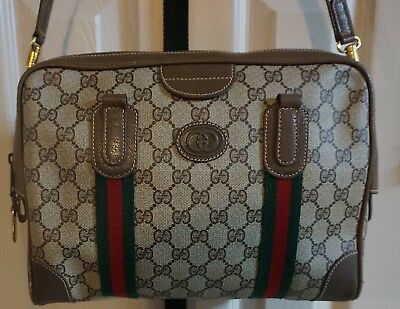 899063ff8 Vintage GUCCI Purse Authentic Large Brown Monogram Canvas leather Bag -  Italy