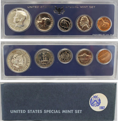 1967 SMS Special Mint set with 40% Silver Kennedy half dollar (OGP) 5 coins