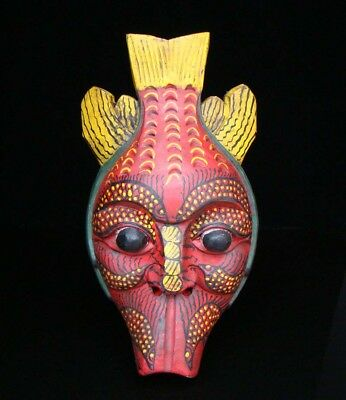 320mm Handmade Carving Statue Painting colored drawing wood Mask Fish Deco Art