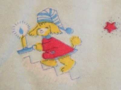 """Vtg Novelty Juvenile Cotton Flannel Fabric, Sleepytime Puppies, 35""""W x Shy 3 Yds"""