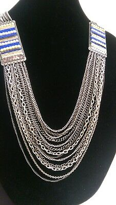 VINTAGE EGYPTIAN Silver Blue BIB COLLAR NECKLACE -Large