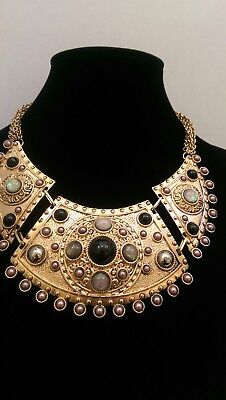 Vintage Large EGYPTIAN Revival BIB COLLAR NECKLACE with Stones
