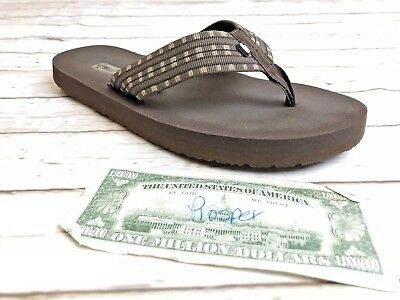 dd795ca34 TEVA MUSH Men s SZ 7 39.5 Flip Flop Canvas Thong Sandals Brown Comfort Beach