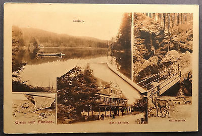 Germany Ebnisee Lake Hotel Grotto Gallengrotte Gruss Antique Postcard (d081)