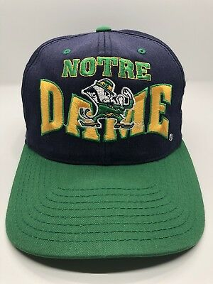 NCAA Notre Dame Fighting Irish Vintage Cap Hat Adult Snapback Blue Green Cotton