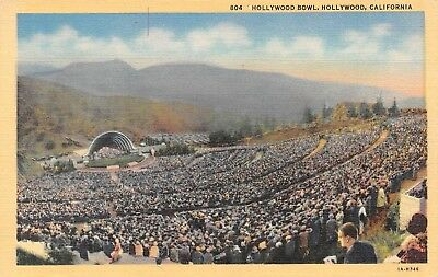 B8789 Day View Hollywood Bowl Hollywood CA 1931 Linen Postcard Teich No. 1A-H346