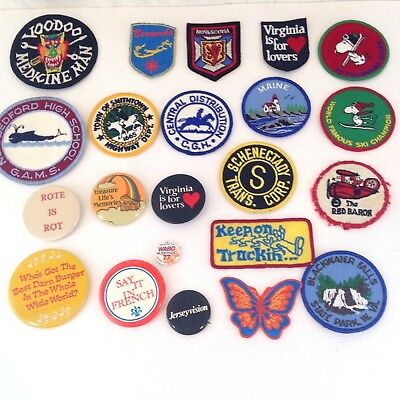 Vintage 1970s 80s Lot Patches Pins Snoopy US States Voodoo Burger King WABC