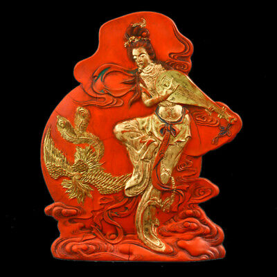 Chinese Cinnabar Hand Carved Beauty&Phoenix Statue W Qianlong Mark  GLAFM0007