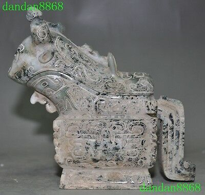 Chinese Dynasty 100% Hetian jade carving beast patterns Statue Wine vessel Cup