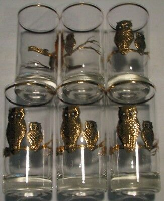 Vintage Owl Drink Ware Glasses, Set 6, With Raised Gold Owls And Stripes On Rim.