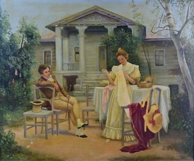 19th Century Antique Original Oil Painting Continential Couple Scene Mansion