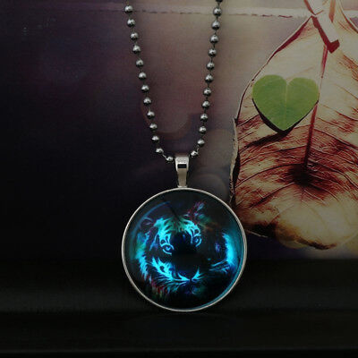 Trendy Men Fairy Cool Tiger Glow in the Dark Stainless Steel Pendant Necklace