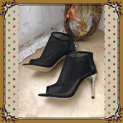 92670d574a48e Jewel Badgley Mishka Black Mesh Peep Toe Booties Silver Heel With  Rhinestones