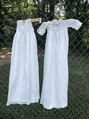 Antique Edwardian Baby Christening Gown And Slip