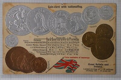 Coin card GB UK Ireland Crown Shilling Currency Exchange rate postcard Novelty