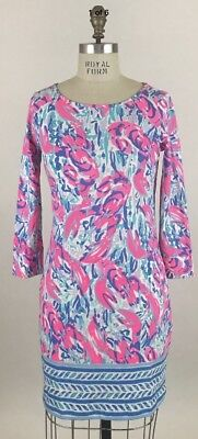 a89c748bdf66cd Lilly Pulitzer Marlowe Dress Cosmic Coral Cracked Up Engineered Pima Cotton  Sz L