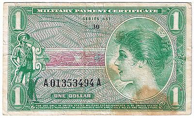United States Military Payment Certificate Series 651 $1 1 dollar USA MPC P M72E