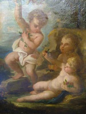"""Attr Francois Boucher """"Angel Putti"""" Antiq Oil On Canvas Invent Stamped  On Back."""