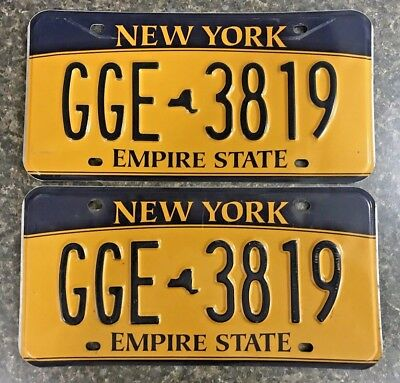 New York State NY Matching Pair Empire State License Plates Tag # GGE 3819