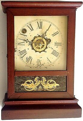 ATKINS CLOCK CO.,  BRISTOL, CT COTTAGE CLOCK, 30-HR TIME & ALARM MOV'T., ca 1875