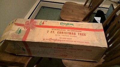 Vintage Evergleam Stainless Aluminum Christmas Tree 7 Ft 100 Branches w/box cool