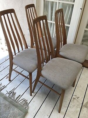 Mid century  modern set of 4 Niels Koefoed for Hornslet Eva dining chairs