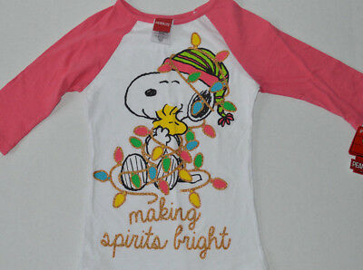 f5c6f73a7 NWT Girls XS 4/5 Peanuts Snoopy/Woodstock Making Spirits Bright Christmas  Shirt