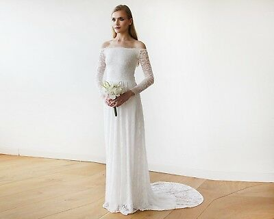 BLUSH Ivory Off-The-Shoulder Floral Lace Long Sleeve Maxi Bridal Dress w/ Train