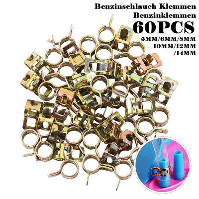 60Pcs 5-14mm Spring Clip Fuel Line Hose Water Pipe Air Tube Clamps Fastener