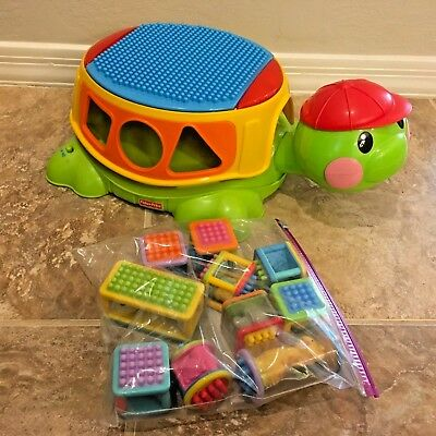 Fisher Price Peek A Block Build &spill Musical Turtle With 10 Blocks Lights Up