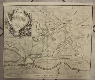 Maastricht Netherlands 1745 Basire Antique Original Copper Engraved City Map