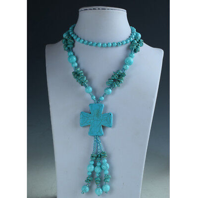 Exquisite Natural Turquoise Handmade Necklaces & Cross Shape Pendant RX029+a